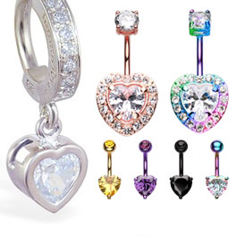 Romantic Love Heart Navel Rings Australia