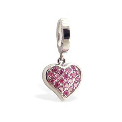 TummyToys® Pink Cubic Zirconia Paved Heart