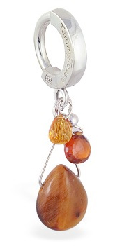 TummyToys Tiger Eye Silver Belly Ring -  Natural gem body jewellery with Tigers Eye, Citrine and Garnet