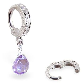 TummyToys® Lavender Amethyst CZ Clasp. Silver Belly Rings.