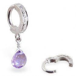 TummyToys Lavender Amethyst CZ Clasp - Solid Silver Snap Lock Belly Button Ring