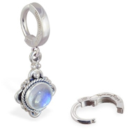 TummyToys Moonstone Drop Belly Ring - Classic Silver Moonstone Pendant Body Jewellery