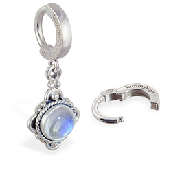 TummyToys® Moonstone Drop Belly Ring - Classic Silver Moonstone Pendant Body Jewellery
