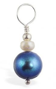 TummyToys Blue Fresh Water Pearl Swinger - Changeable Solid Silver with Pearls Navel Pendant