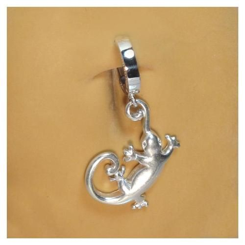 tummytoys 174 silver gecko navel ring belly button rings