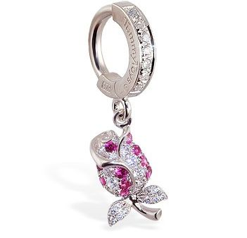 TummyToys® Jewel Paved Rose Belly Ring. Silver Belly Rings.