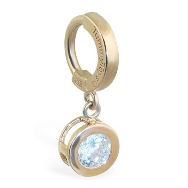 TummyToys® Solid Yellow Gold CZ Dangle. Belly Rings Shop.