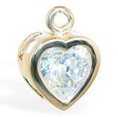 TummyToys® 14k Gold Bezel CZ Heart Charm. Belly Rings Australia.