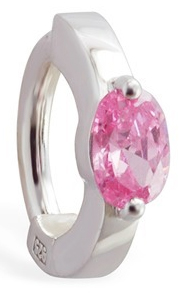 TummyToys Pink CZ Gem Sleeper Belly Ring - Solid 925 Silver Navel Jewellery