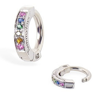 TummyToys® Silver Sleeper Paved With Pastel Rainbow CZ Belly Ring. Belly Rings Australia.