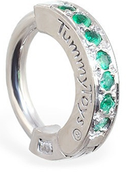 TummyToys Green CZ Paved Silver Sleeper Navel Ring - Solid 925 Snap Lock Body Jewellery