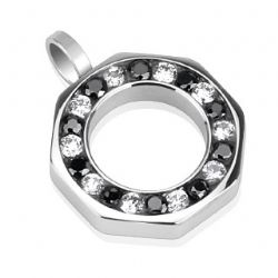 Wheel Necklace Pendant - Surgical Steel Octagon Shaped Cubic Zirconia Pendant