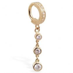 TummyToys® 14K Yellow Gold Diamond Journey Navel Ring