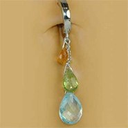 TummyToys Natural Gemstone Teardop on Pure Platinum Clasp - Gemstone Pendant on Solid Pure Platinum
