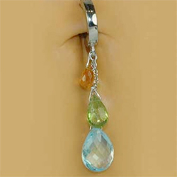 TummyToys® Natural Gemstone Teardop on Pure Platinum Clasp