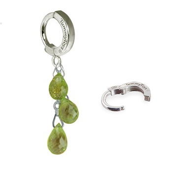 Shop Belly Rings. TummyToys Natural Peridot Dangle on Pure Platinum Clasp - Pridot Pendant on Solid Pure Platinum
