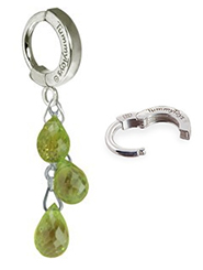 TummyToys Natural Peridot Dangle on Pure Platinum Clasp - Pridot Pendant on Solid Pure Platinum