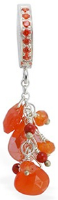 TummyToys Paved Orange CZ  With Sunset Cluster Navel Ring - Solid Silver CZ Paved Body Jewellery Clasp