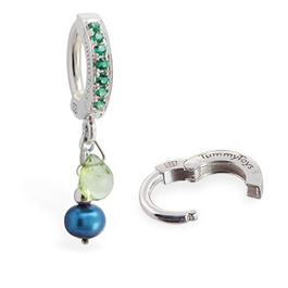 TummyToys® Peridot and Blue Pearl with Emerald Green CZ Clasp