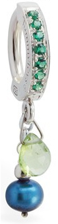 TummyToys Handmade Peridot and Blue Pearl Charm On An Emerald Green CZ Clasp - Solid Silver Paved Clasp Lock Body Jewellery