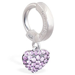 TummyToys 14K White Gold Pink Sapphire Heart Belly Ring - Solid 14k White Gold Belly Ring with Pink Sapphires