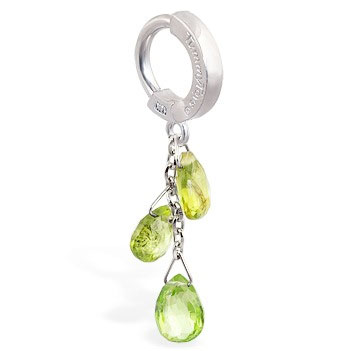 TummyToys® Custom 14K White Gold Peridot Navel Ring. Belly Rings Australia.