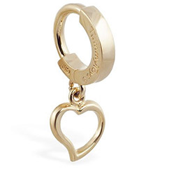 Tummy Toys 14K Yellow Gold Dangling Heart Navel Ring