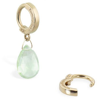 TummyToys® 14K Yellow Gold Green Quartz Navel Ring. Belly Rings Australia.