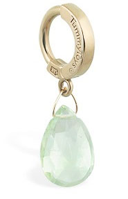 TummyToys 14K Yellow Gold Green Quartz Navel Ring - Solid 14k Yellow Gold Belly Ring with Green Quartz Dangle