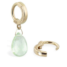TummyToys® 14K Yellow Gold Green Quartz Navel Ring