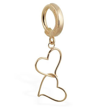 TummyToys® Solid Yellow Gold Hand Made Double Heart Belly Ring. Belly Rings Australia.