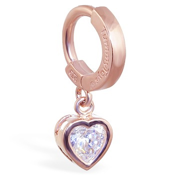 Navel Rings. TummyToys Rose Gold Cubic Zirconia Heart Belly Ring - Solid Rose Gold Snap Lock Belly Ring