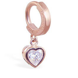 TummyToys® Rose Gold Cubic Zirconia Heart Belly Ring