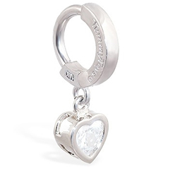 Buy TummyToys® White Gold Cubic Zirconia Heart Belly Ring