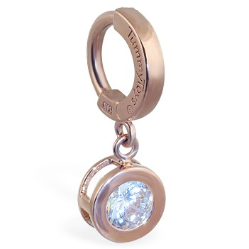 TummyToys® Solid Rose Gold CZ Dangle. Belly Rings Australia.