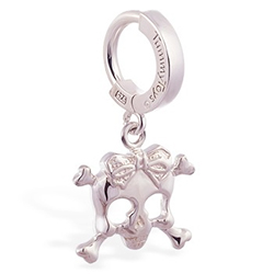 TummyToys® Silver Femme Metale's Silver Skull and Bow Navel Ring