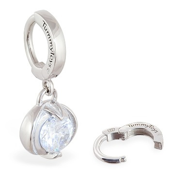 TummyToys® Bezel Set Round Cubic Zirconia Surgical Steel Clasp. Silver Belly Rings.