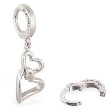 TummyToys® Interlocking Double Heart Surgical Steel Clasp. High End Belly Rings.