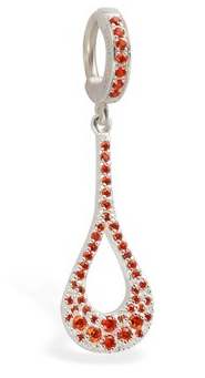 TummyToys Dazzling Orange CZ Charm Navel Ring - Solid Silver Orange CZ Paved Body Jewellery Clasp
