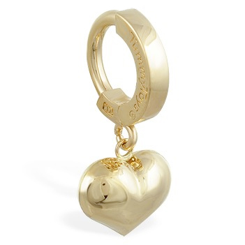Belly rings. TummyToys 14K Yellow Gold Puffed Heart Navel Ring - Solid 14k Yellow Gold Belly Ring
