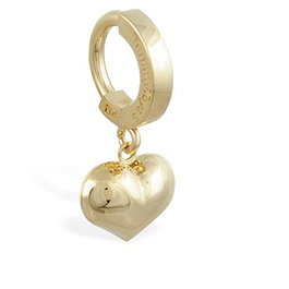 TummyToys® 14K Yellow Gold Puffed Heart Navel Ring