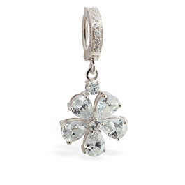 TummyToys® CZ Paved Flower Navel Ring