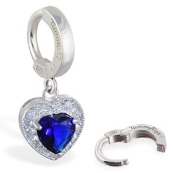 Navel Jewellery. TummyToys Paved Heart Belly Huggie - Solid Silver CZ Snap Lock Belly Ring