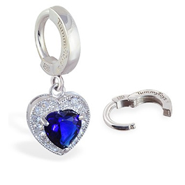 Belly Bar Sale - TummyToys Paved Heart Belly Huggie - Solid Silver CZ Snap Lock Belly Ring