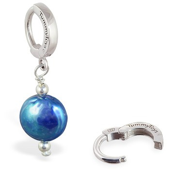TummyToys® Blue Freshwater Coin Pearl. Belly Bars Australia.