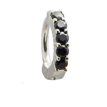 TummyToys® Solid 925 Silver Huggy with Black Diamante. Quality Belly Rings.