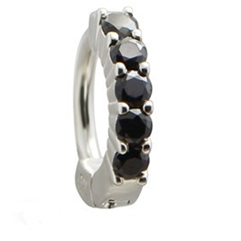 TummyToys® Solid 925 Silver Huggy with Black Diamante
