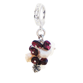 Garnet, Pearl and Moonstone Cluster - Natural Freshwater Pearl, Garnet and Moonstone