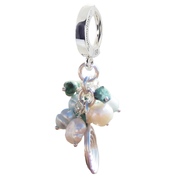 Turquoise with Freshwater Pearl Cluster. Quality Belly Rings.