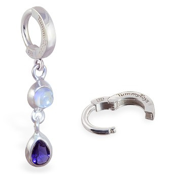 TummyToys® Moon Stone Iolite Huggy. Belly Rings Australia.
